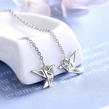 KOFSAC Romantic Paper Crane Long Tassel Earrings For Women Jewelry 925 Sterling Silver Earring Girl Charm Gift Party Accessories