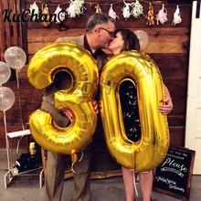Globos de helio de aluminio con número dorado para adultos, globos de helio de aluminio rosa de 16/32/40 pulgadas para Cumpleaños de adultos de 21, 30, 50 y 60 años, adornos fiestas, 2 uds.