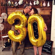 2 sztuk 16/32/40 cal róża złota cyfra folia balony z helem pogratulować 21 30 50 60 lat dla dorosłych dekoracje na przyjęcie urodzinowe dostaw