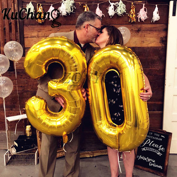 2pcs 16/32/40 inch Rose Gold Number Foil Helium Balloons Congratulate 21 30 50 60 Years Old Adult Birthday Party Decor Supplies 30 40 inch rose gold silver foil number balloons birthday party decor air helium number globos kid baloons birthday balon