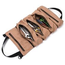 Super rolka narzędziowa duża rolka klucza duża torba na narzędzia zawijane płótno Organizer na narzędzia wiadro etui na narzędzia zawijane poręczna mała torba na narzędzia tanie tanio NoEnName_Null CN (pochodzenie) Canvas Tool Storage Bag Wielofunkcyjna torba
