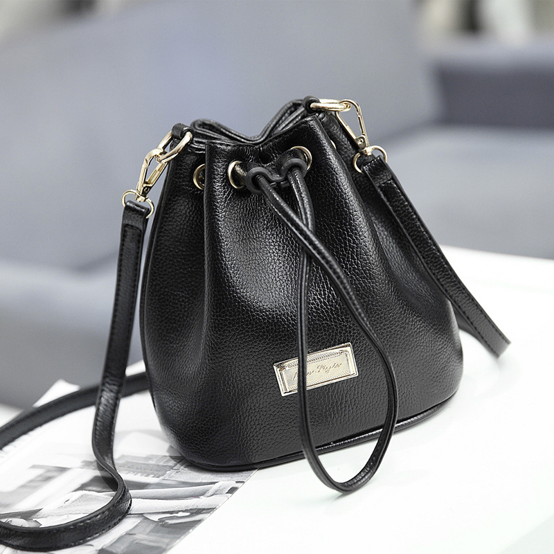 Female Bucket Bag Drawstring PU Leather Women Messenger Bags School Fashion shoulder Handbags Mini Tote