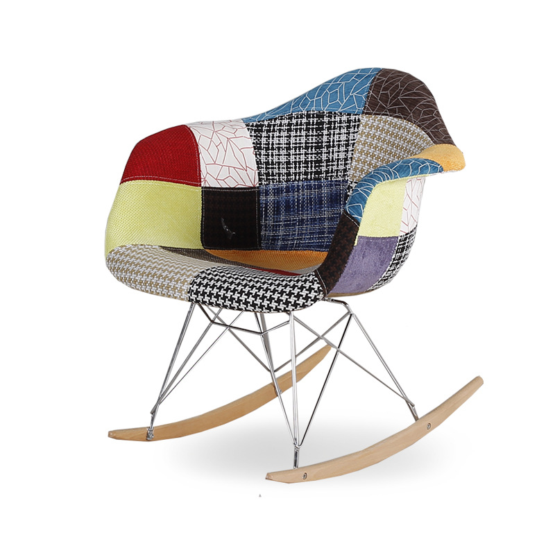 Modern Upholstered Style Rocker Armchair Multi Color Patchwork Pattern Fabric Cushion Living