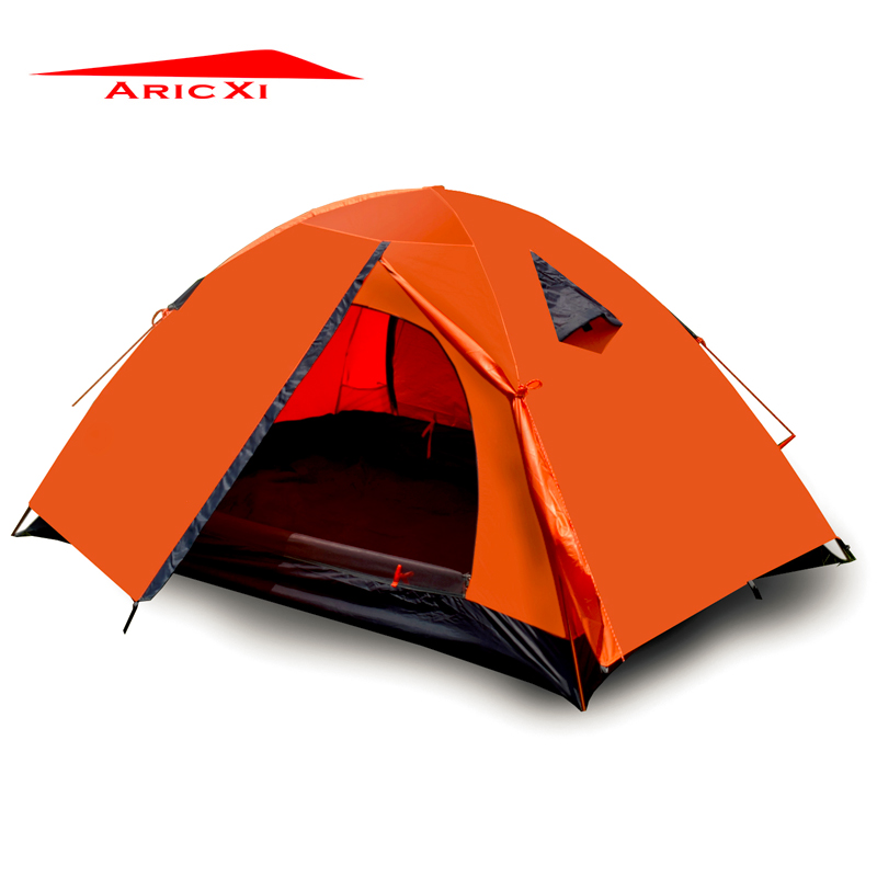 ARICXI 2 Person Tents Camping Tents Double Layer Waterproof Windproof Outdoor Tent For Hiking Fishing Hunting Beach Picnic hot outdoor camping double layer 2 person aluminum rod tent waterproof windproof high strength camping tent
