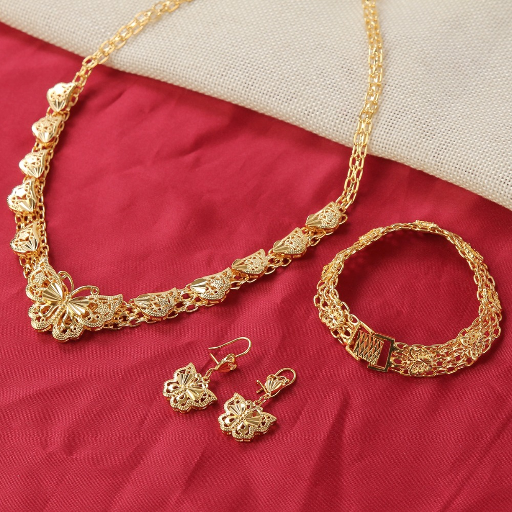 24K Gold Pretty Dubai African Jewelry Nigerian Wedding Habesha set