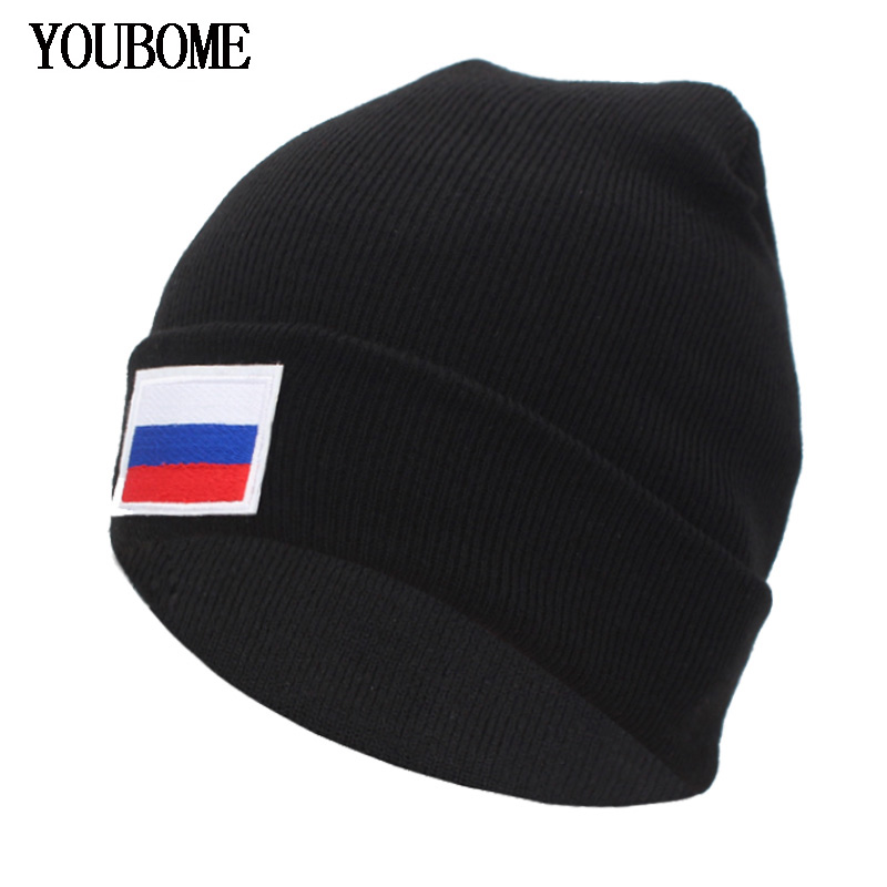 YOUBOME New Fashion Winter Knitted Hat Women   Skullies     Beanies   Hats For Men Black Cap Russian Flag Gorros Bonnet   Beanie   Hat Caps
