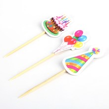 3pcs/set Balloon hat Cupcake Toppers Picks Birthday Party Decoration Kids Baby Shower gilr Favors Cake Decorating(China)