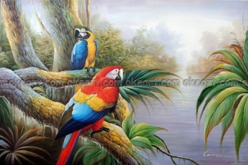 100% peint à la main Ara Perroquet Sauvage Oiseaux Jungle