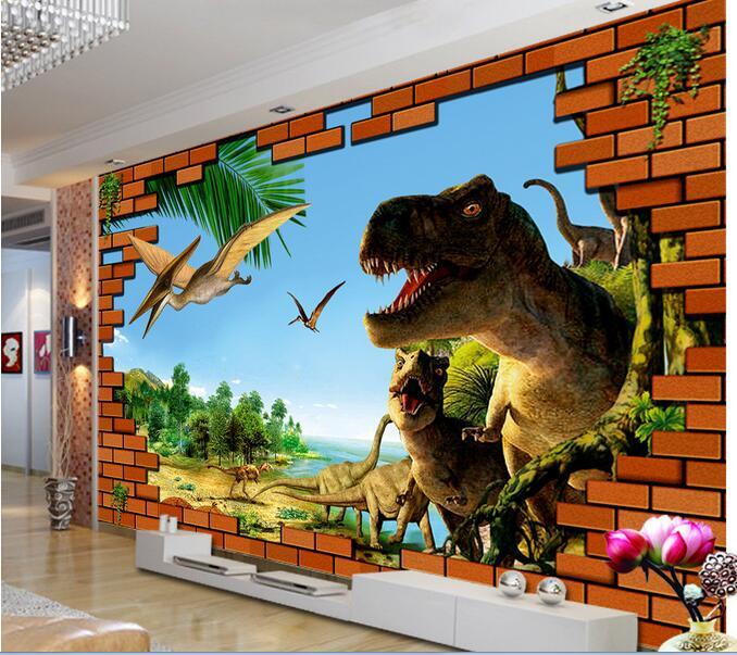 3d room wallpaper custom mural non-woven wall sticker 3 d  brick wall dinosaur era  painting photo wallpaper for walls 3d вам свет подвесная люстра reccagni angelo l 6358 3