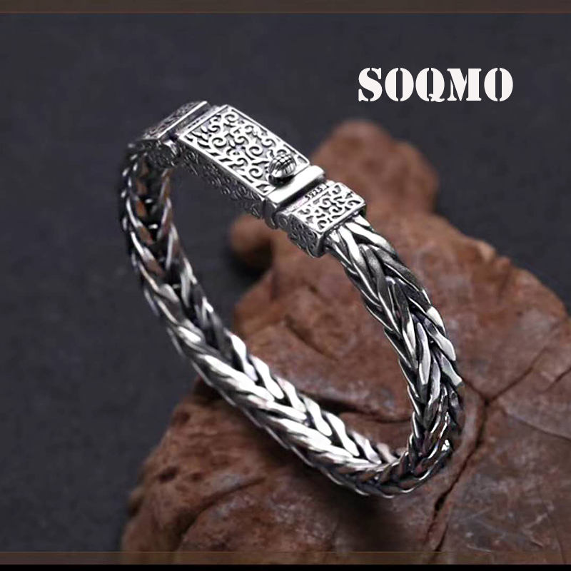SOQMO Best Friend Bracelet 100% Real 925 Sterling Silver Jewelry For Men Women Vintage Lucky Weave Chain Bracelet Bangle SQM129 soqmo men women bracelet 100