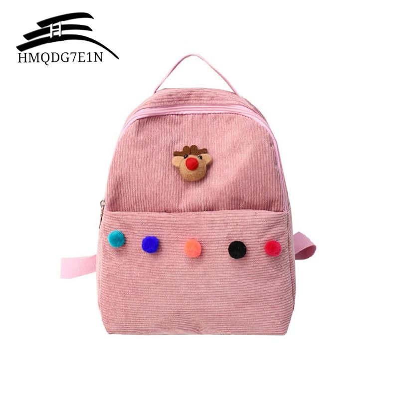 2019 Retro Velvet Women Backpack with Fur Ball  Cute College School Bags for Girls Knapsack Kawaii Backpacks Rucksack