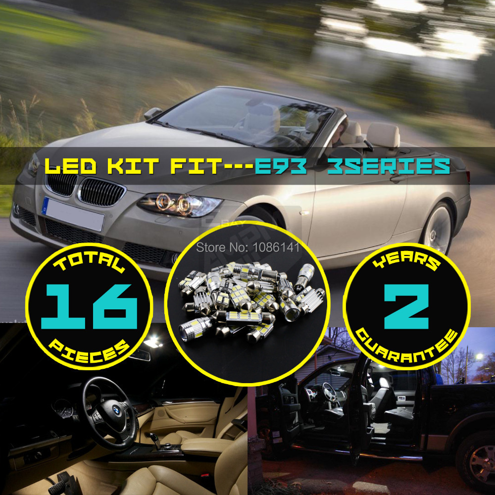16x 5630 5730 LED Canbus Dome Map License plate Glove Box Footwell Courtesy Interior Kit Fit for E93 3series White #75