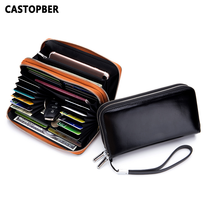 Women Fashion Designer Double Zipper Oil Wax Genuine Leather Wallet RFID Blocking Long Purse Day Clutches for Men High Quality new designer woman oil wax genuine leather bag cowhide fashion day clutches long purse female ladies handbag for men famous bags