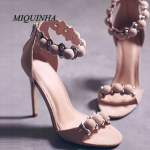 ФОТО nice-looking fashion pom pom sandals suede leather thin high heel open toe zipper shoes metal decoration party dress shoes