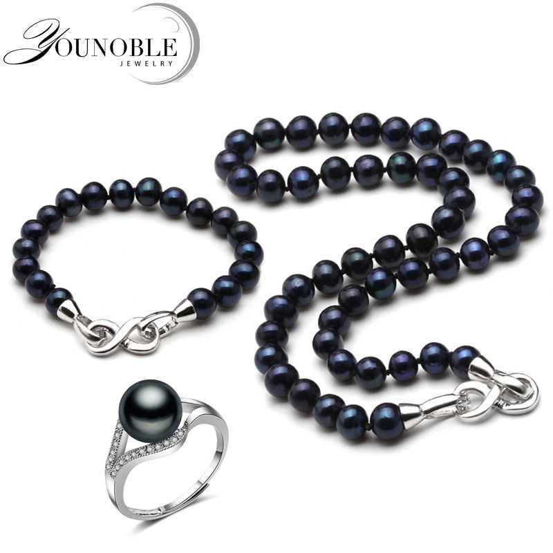 Real wedding black pearl jewelry set women,anniversary pearl necklace set with bracelet ring 925 silver bridal jewlery in box