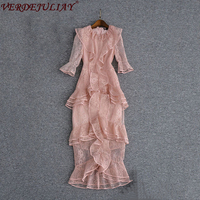 Leuke Vrouwelijke Jurken Lente 2018 Mode Nieuwste Kant Nieuwigheid Half Mouwen Ruches Hot Koop Roze Sexy Schede MId-Kalf jurk