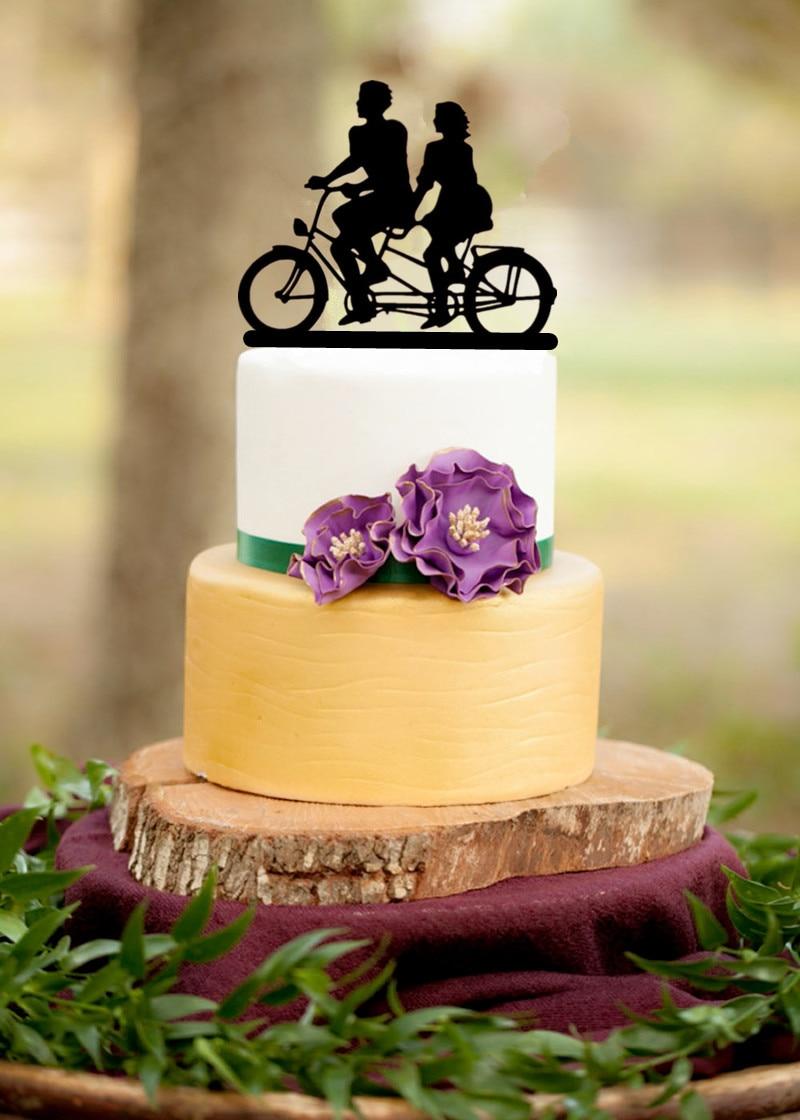 Mixed Black Acrylic Bicycle Style Wedding Cake Topper Bride & Groom ...