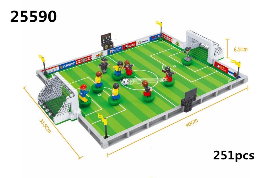 Model building kits compatible with lego city football series 3D blocks Educational model building toys hobbies for children model building kits compatible with lego city warship 543 3d blocks educational model