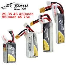 TATTU-batterie LiPo 2S 3S 4s 450mAh 850mAh 45C 75C XT30, prise Violence Lithium, li-polymère quadrirotor, pour Drone de course FPV