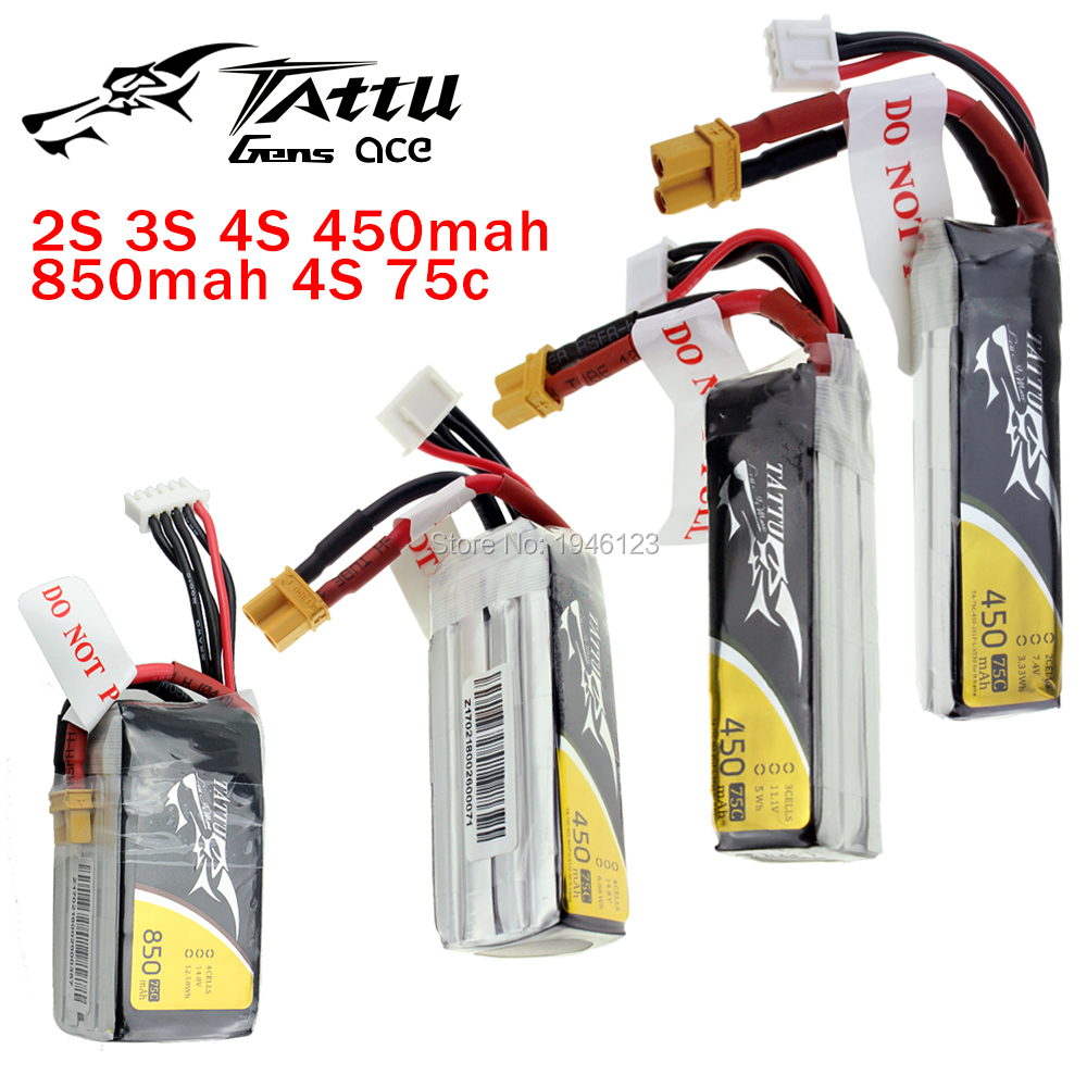 TATTU LiPo Battery 2S <font><b>3S</b></font> 4S 450mAh <font><b>850mAh</b></font> 45C 75C XT30 Plug Violence Lithium Li-Polymer Quadcopter Battery for FPV Racing Drone image