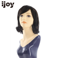 Dark Brown Brazilian Natural Human Hair Wigs With Bangs Short Curly Bob Wigs Non Remy Hair Machine Made Side Part Wig 12 IJOY