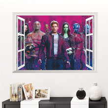 Guardians Of The Galaxy 3d Window Wall Stickers For Kids Room Home Decoration Diy Boys Decals Movie Mural Art Pvc Posters