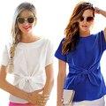 2016 New Blue Women Summer Blouses Chiffon Shirt Short Sleeves Bottoming Shirt O-Neck Girls T Tops With Bowknot