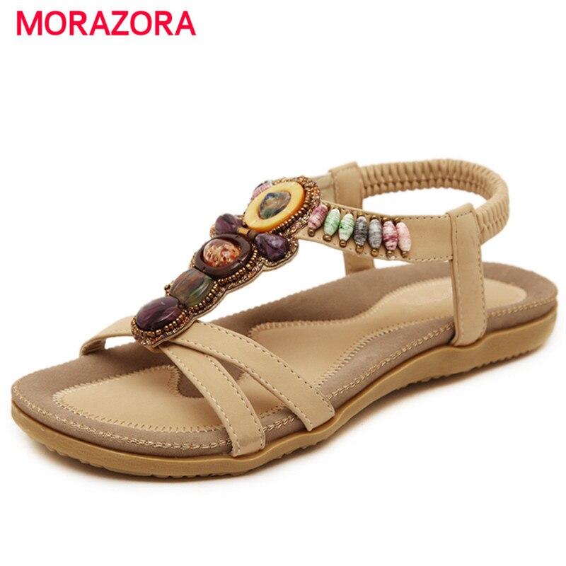 MORAZORA Grande taille 35-44 Chine de style femme chaussures PU chaîne perle plate-forme chaussures d'été femmes sandales parti mode