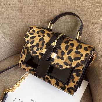 Leopard Crossbody Bags For Women with Zipper Decoration Ladies Chain Handbags And Purses Patent leather Small  Shoulder Bag - DISCOUNT ITEM  40% OFF All Category