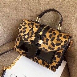 Leopardo crossbody sacos para mulher com zíper decoração senhoras corrente bolsas e bolsas de couro patente pequena bolsa de ombro