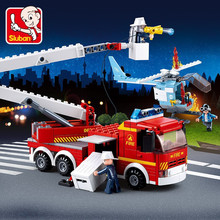 394Pcs City Fire Fighting Elevated Platform Truck Building Blocks Sets Bricks DIY Toys for Children