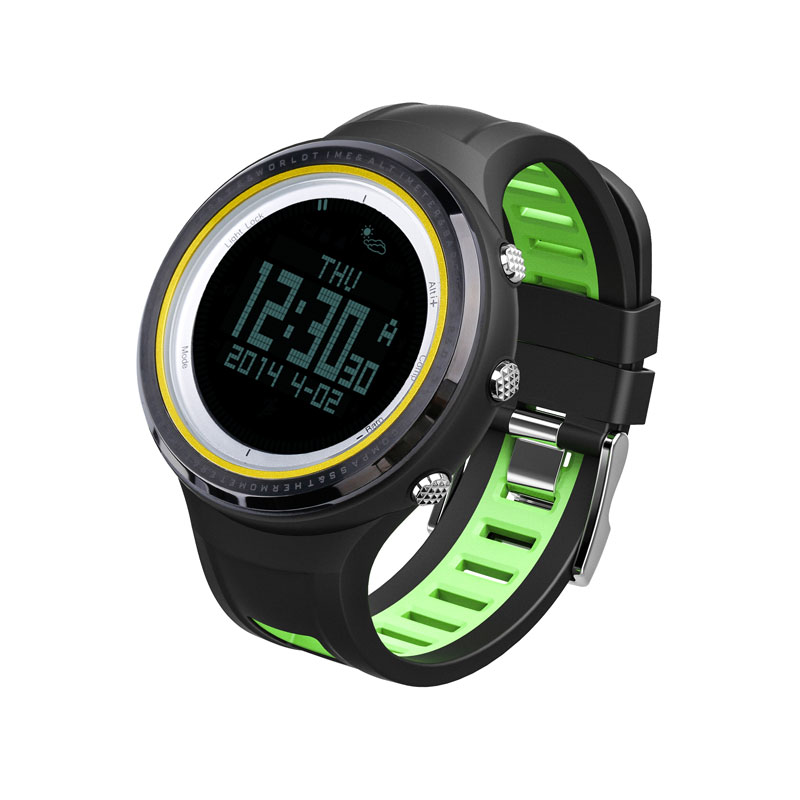 SUNROAD FR800NB Outdoor Sports Men Watch-Stopwatch Digital Altimeter Barometer Compass Pedometer Clock Men For Sports Fan (Green