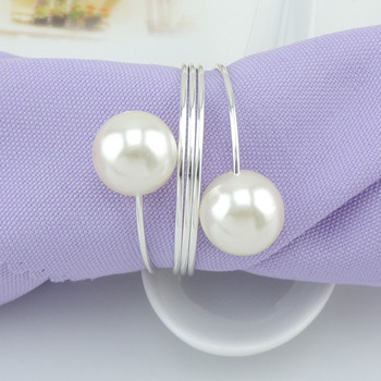 Imitation Pearl Metal Napkin Rings Exquisite Round Electroplate Napkins Buckle for Wedding Bridal Shower Favor Party Decor W8194