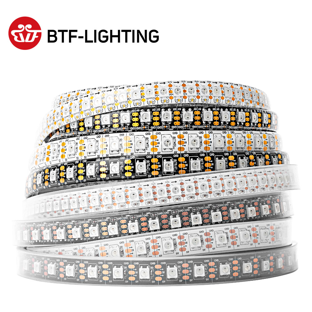 1m 2m 4m 5m WS2812B RGB LED Strip 30/60/74/96/100/144 pixels/leds/m Individual Addressable WS2812 Black/White PCB IP30/65/67 5V image