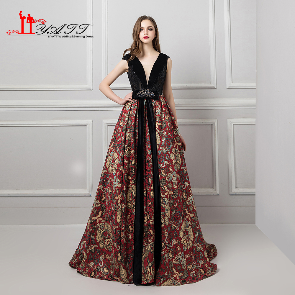 LIYATT New 2018 Gothic Vintage Princess Arabic Cap Sleeves V-Neck Formal Long Elegant Evening Prom Dress Custom Made Women Gowns