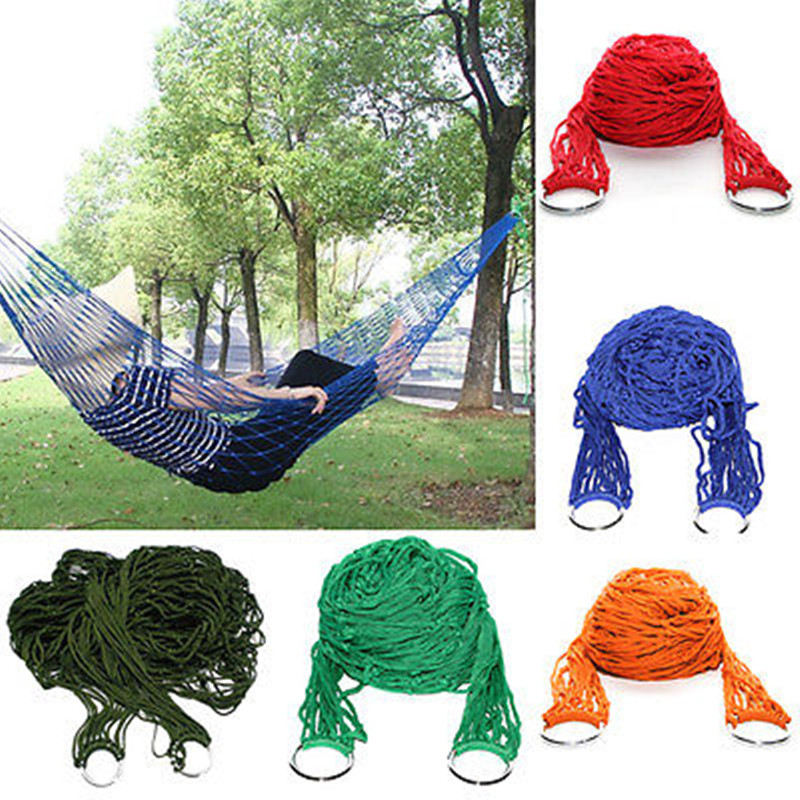 Household Daily Convenienct Product Portable Nylon Hammock Hanging Mesh Sleeping Bed Swing Outdoor Camping Travel Hammock portable outdoor traveling camping parachute nylon fabric sleeping bed hammock