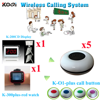 Waiter Buzzer Call System Userfriendly Long Range Wireless Restaurant Pager ( 1pcs display with 1pcs watch and 5pcs call buzzer)