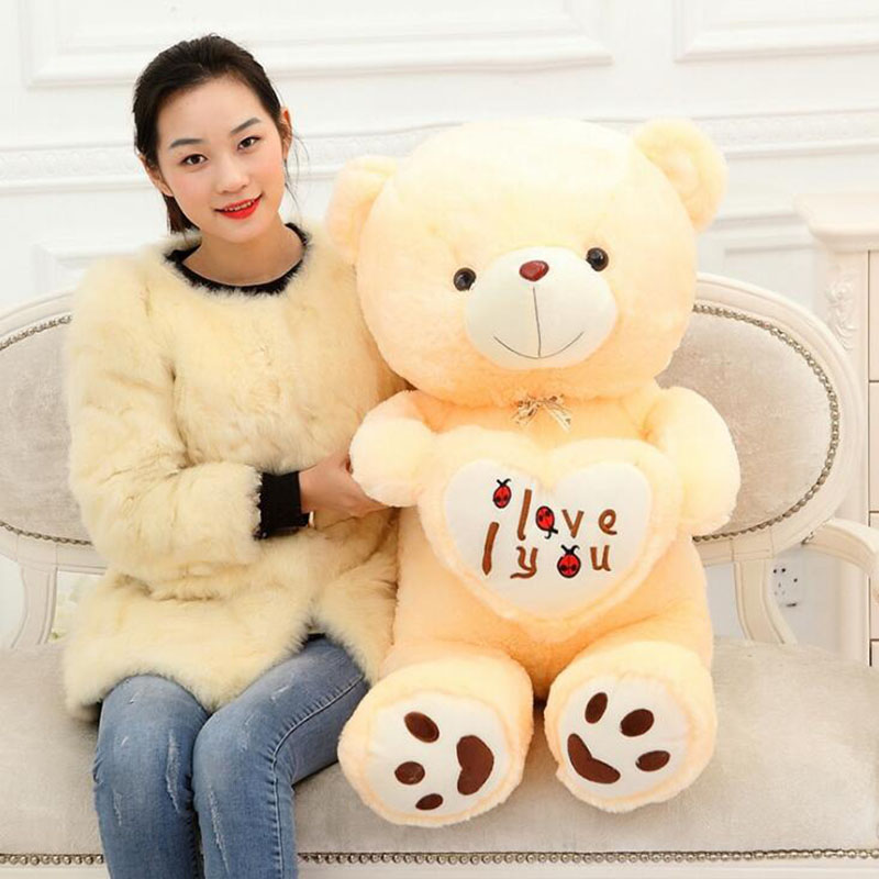 BIG I Love You Teddy Bear Large Stuffed Plush Toy Holding LOVE Heart Soft Gift for Valentine Day Birthday present