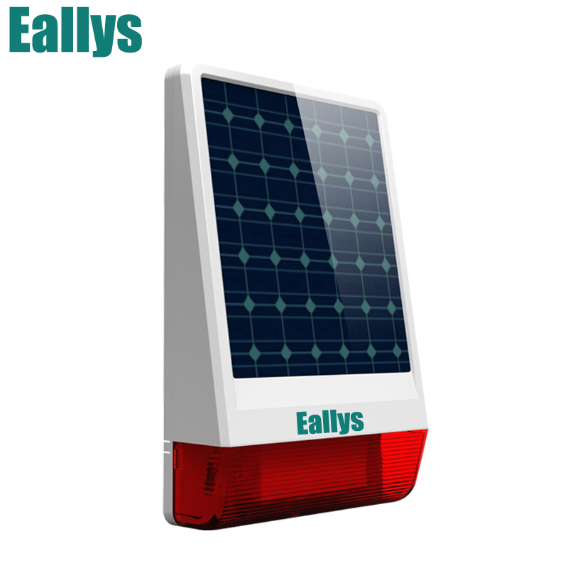 wireless outdoor Solar siren panel For Eallys Alarm System security with flashing response sound