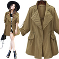 American Apparel Oversized Trench Coats Women 4XL Adjustable Waist Open Cardigans Army Green Autumn Winter Trechot