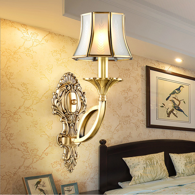 bedroom wall sconces lighting. Antique Wall Lamps Copper Interior Lighting Bedroom Sconce Europe Vintage Light Aisle Villa Hotel Sconces B