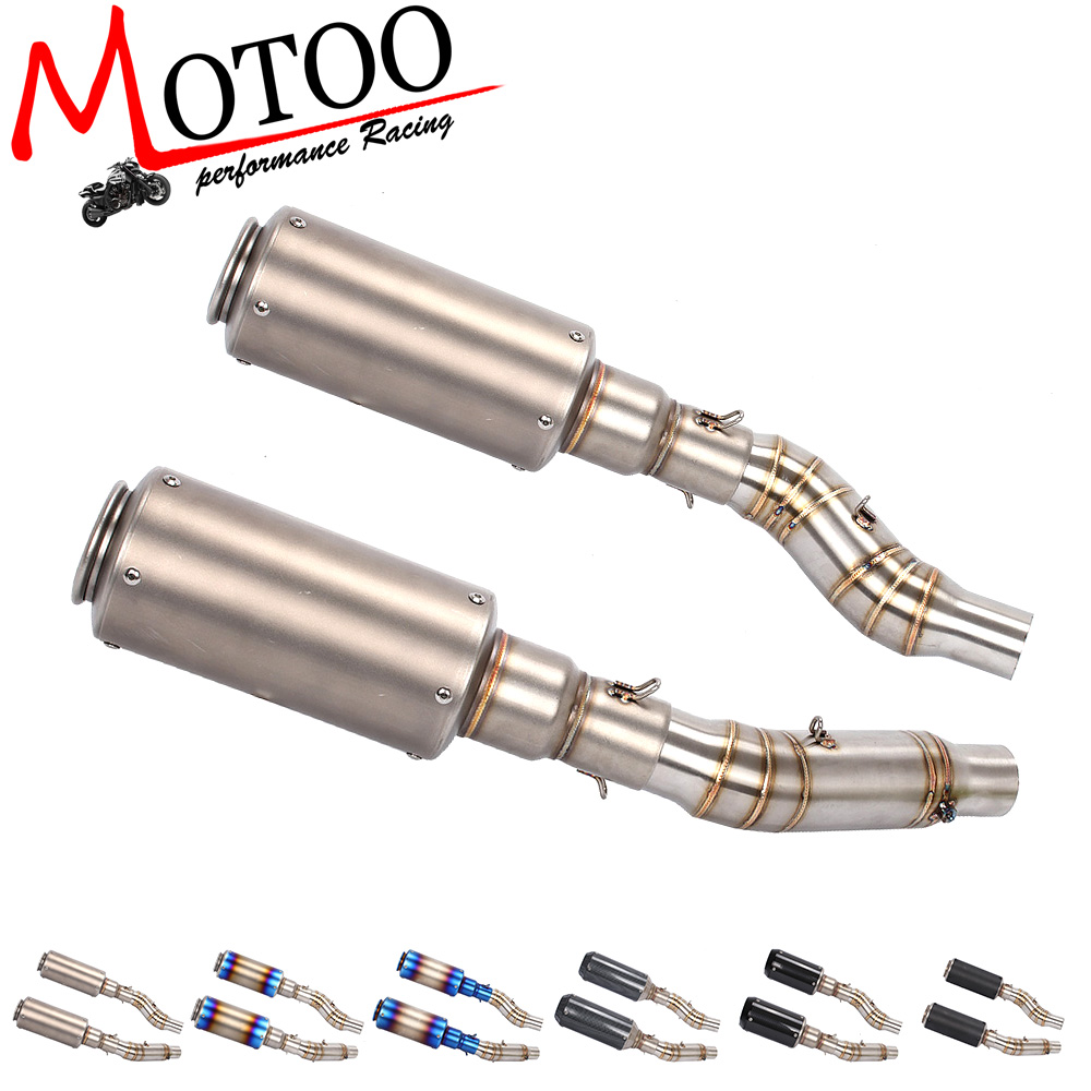 Motoo -Motorcycle Exhaust Muffler Pipe Link  Carbon Fiber 2 piece Exhaust middle Pipe Escape FOR Kawasaki Z1000 2010-2016 free shipping motorcycle accessories colorful motorcycle muffler carbon fiber exhaust pipe for kawasaki ninja650 er6 z750 z1000