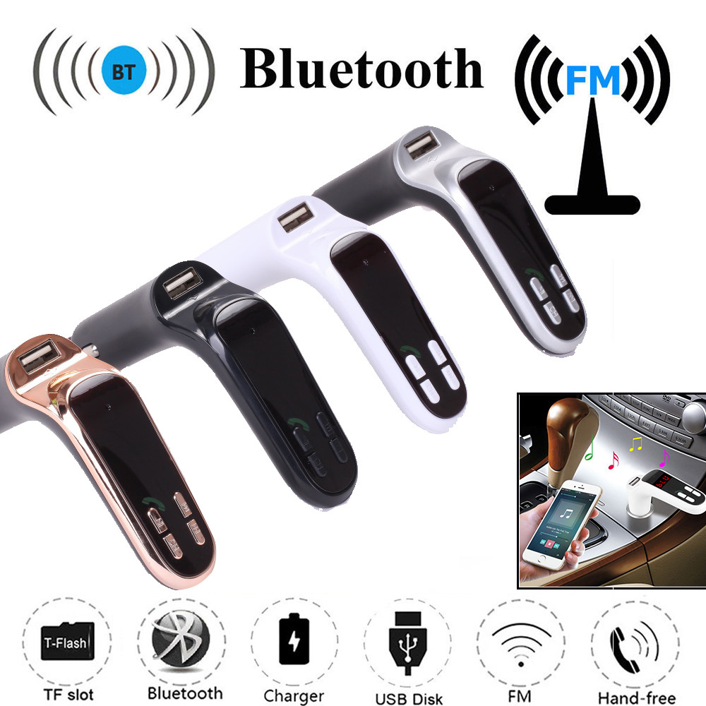 Built-in Intelligent Car FM Transmitter Bluetooth Hands-free LCD MP3 Player Radio Adapter Kit Charger USB To Mp3 Voiture Adapter
