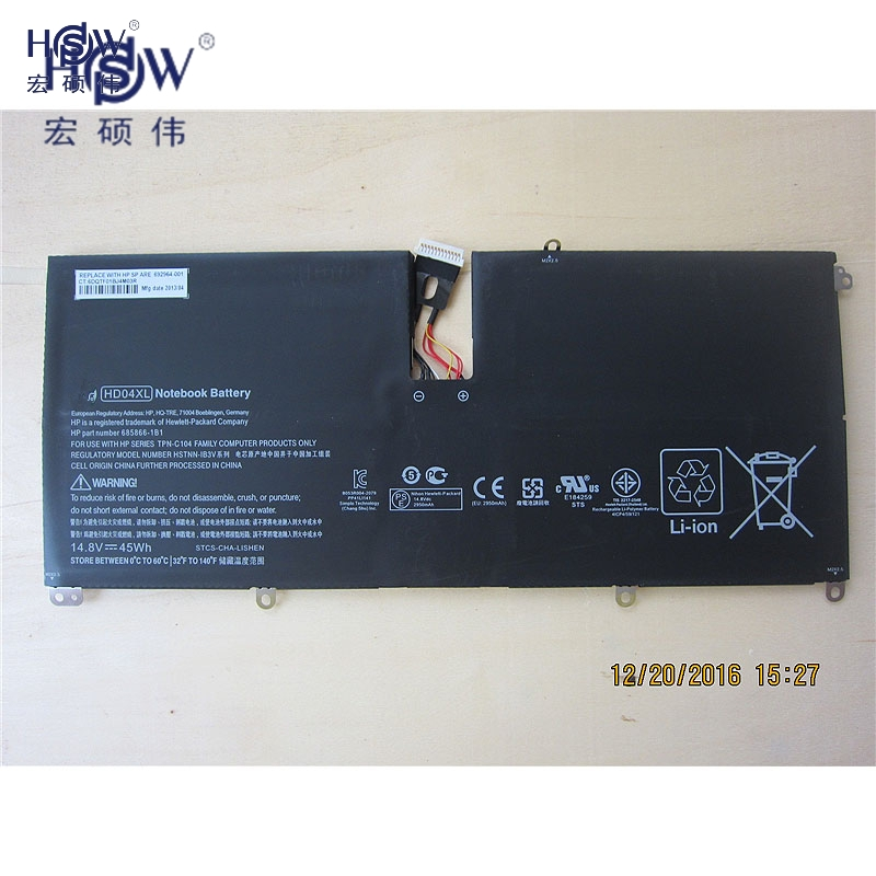 HSW New 14.8V 45Wh HD04XL Battery For Hp Envy Spectre Xt 13-2021tu Xt 13-2000eg Xt 13-2120tu 685866-1b1 685866-17
