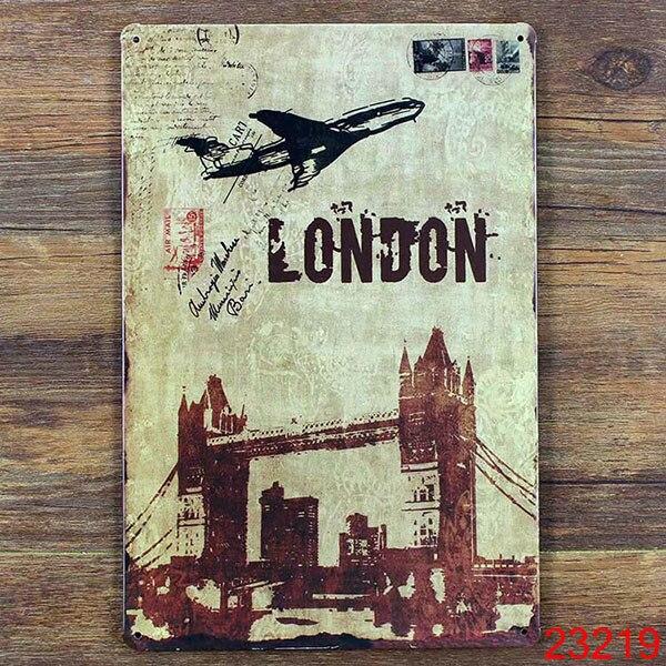 LONDON AIRPLANE Home Decor Pub Tavern Garage Tin Sheet Metal Sign ...