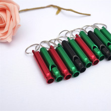 10Pcs Aluminum Emergency Survival Cheerleading Whistle Keychain For Camping Hiking Outdoor Sport Tools Color Random