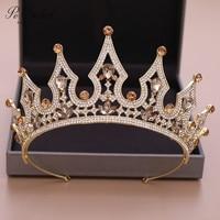 PEORCHID Princess Tiara Baroque Headband Crystal Bride Hair Accessories Bridal Headpiece Queen Wedding Mermaid Crown Gold 2019