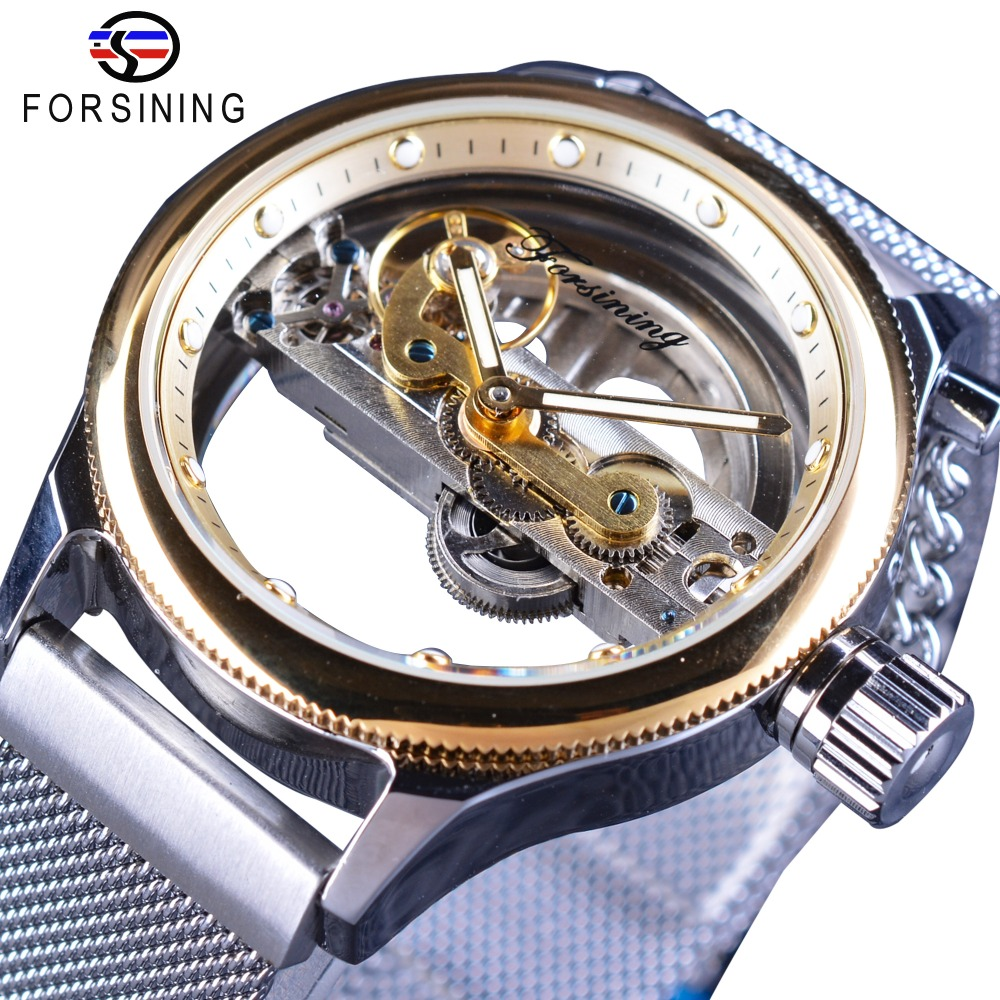 Forsining 2017 Design Transparent Case Skeleton Dial Golden Bezel Silver Mesh Band Men Automatic Wrist Watches Top Brand Luxury forsining 3d skeleton twisting design golden movement inside transparent case mens watches top brand luxury automatic watches