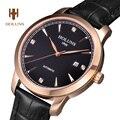 HOLUNS reloj sapphire hombres de lujo fecha de acero Inoxidable resistente al agua reloj masculino del relogio correa de cuero máquina Automática