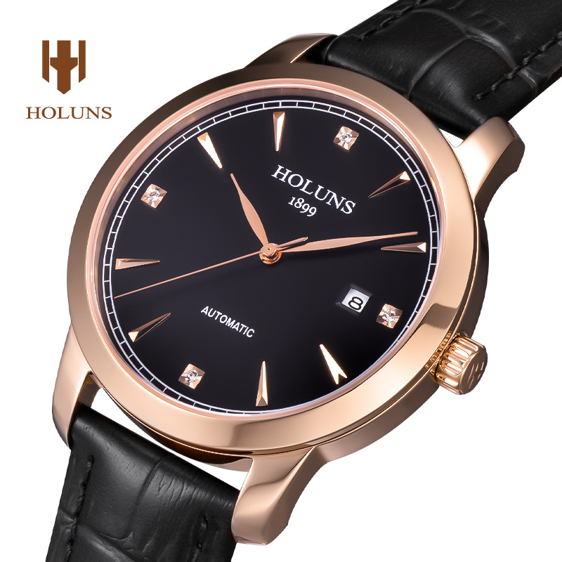 Luxury  HOLUNS watch men sapphire Stainless steel waterproof date strap Automatic machine leather watch relogio masculine luxury moon phase watch men sapphire glass stainless steel waterproof automatic machine date watch relogio masculine
